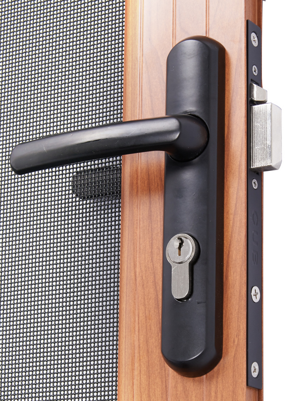Security French Hinged Screen Doors Woodgrain Finish