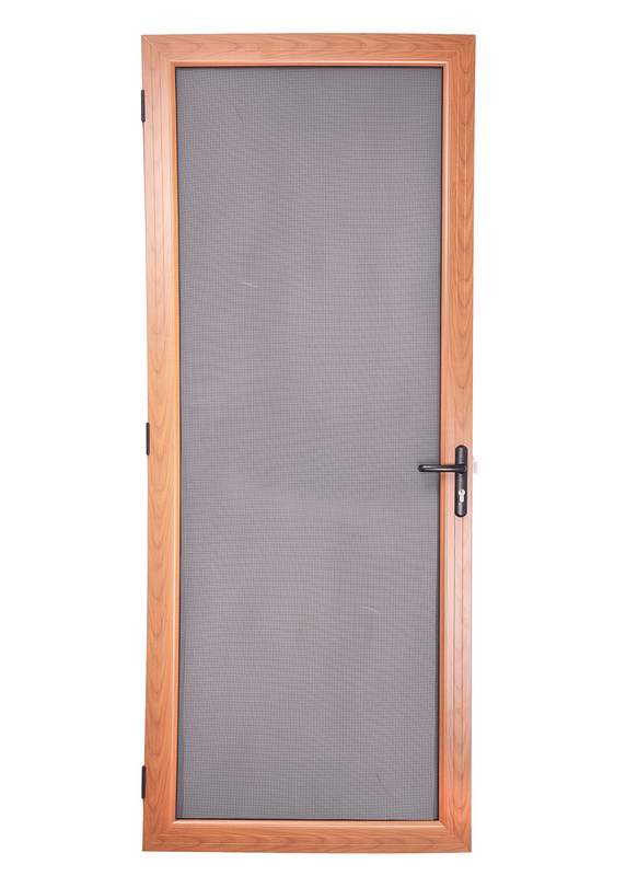 Security screen doors woodgrain finish french hinged for Do french doors have screens